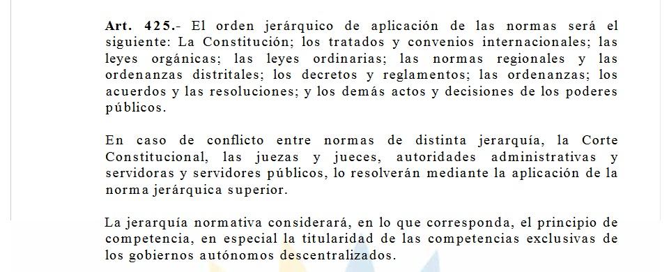 Art425 primacía de la Constitución