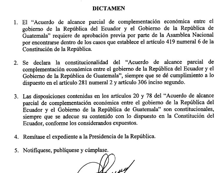 Dictamen constitucionalidad Ecuador-Guatemala