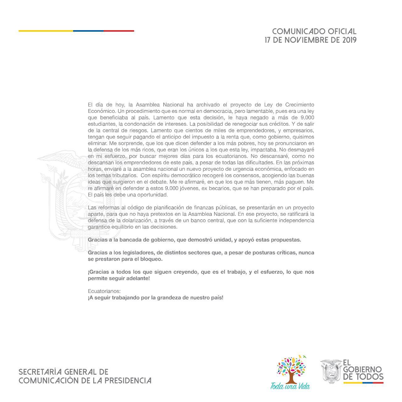 Comunicado Oficial de la Presidencia de la República, 17 de Noviembre de 2019